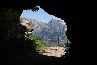 Wildenmannlisloch - view from the cave entrance looking towards Schafberg