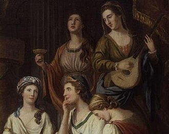 "Hannah More - More (standing, left, as a personification of Melpomene, muse of tragedy), in the company of other ""bluestockings"" (1778)."