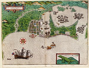 Cartagena, Colombia - Map of the city recently established and without walls (c.1550)
