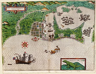Battle of Cartagena de Indias (1586) - Sir Francis Drake in Cartagena de Indias 1585. From a hand-colored engraving, by Baptista Boazio, 1589
