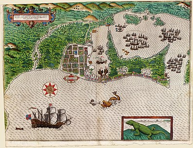 Map of the city recently established and without walls (c.1550) Boazio-Sir Francis Drake in Cartagena.jpg