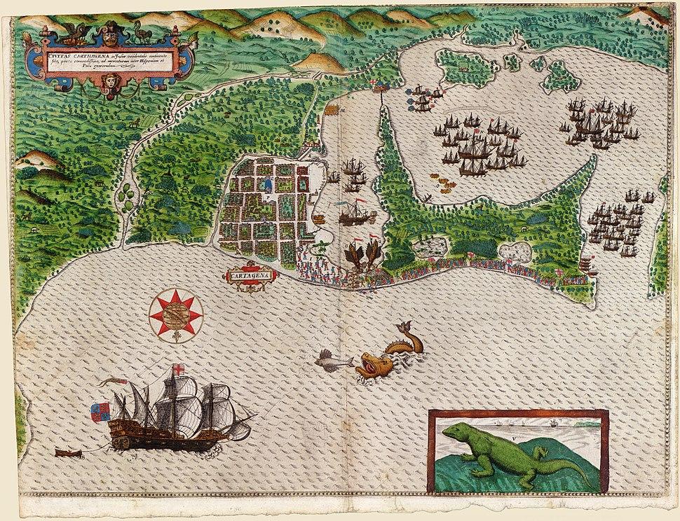 Boazio-Sir Francis Drake in Cartagena