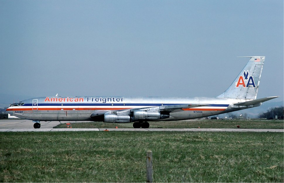 Boeing 707 of American Airlines at Basle - April 1976