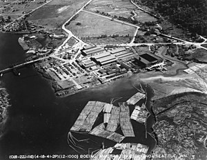 "Boeing Plant 1 - Aerial photo from 1941.  Boeing 314 Clipper NC18609 (""Pacific Clipper"") is visible on the launching quay."