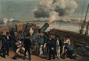Charles Napier (Royal Navy officer) - Bombardment of Bomarsund during the Crimean War. Napier is the large figure in the slouch hat and carrying telescope in centre foreground.