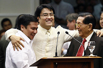 Bong Revilla - with Senators Juan Ponce Enrile and Jinggoy Estrada after the Revilla's speech Salamat, Kaibigan on June 9, 2014