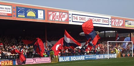Bootham Crescent is the home ground of York City Bootham Crescent David Longhurst Stand 21-03-2009 1.jpg