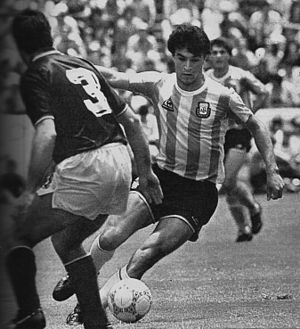 Claudio Borghi - Borghi dribbling Italian defender Antonio Cabrini in the 1986 FIFA World Cup.