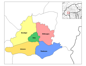 Tiankoura Department location in the province