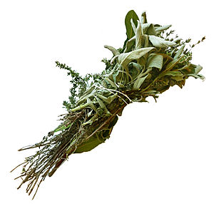 Bouquet garni - Bouquet garni of thyme, bay leaves, and sage, tied with a string