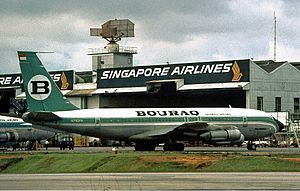 Bouraq Indonesia Airlines - A Bouraq Indonesia Airlines Boeing 707 at Singapore International Airport in 1978.