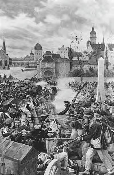 French infantry defend a barricade against a Prussian assault. Boutigny-Battle of Leipzig.jpg