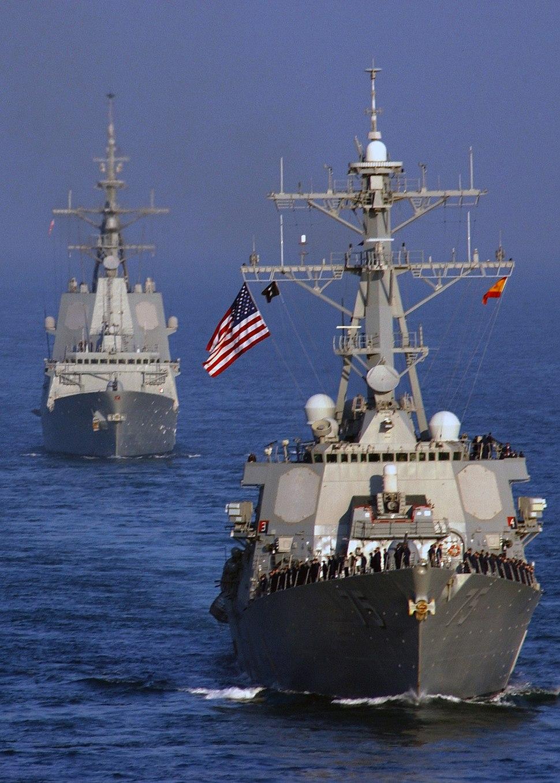 Bow view of USS Donald Cook (DDG-75) escorting Alvaro de Bazan (F101) in the Persian Gulf 051203-N-7241L-002