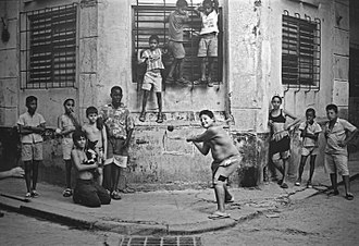 1999 Baltimore Orioles – Cuban national baseball team exhibition series - Boys playing stickball in Havana, 1999