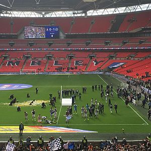 2017 EFL League One play-off Final - Millwall players celebrate promotion.