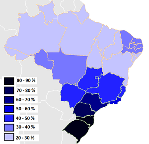 Majority minority - Brazilian states according to the percentage of Whites in 2009.