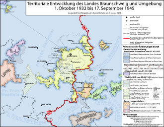Free State of Brunswick - Territorial evolution of Brunswick 1932-1945