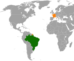 Map indicating locations of Brazil and France