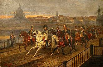 Dresden - Napoleon Crossing the Elbe by Józef Brodowski (1895)