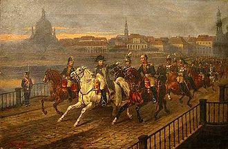 Dresden - Napoleon Crossing the Elbe by Józef Brodowski (1895)