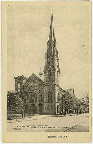 Fort Greene, Brooklyn - Lafayette Ave Presbyterian Church, before 1933 when its steeple was shortened