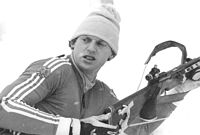 East German athlete using a grip action straight pull rifle, 1984.
