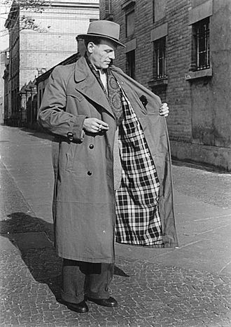 Trench coat - A lined trench coat being modeled in East Germany, 1953.