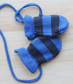 blue striped knitted mittens