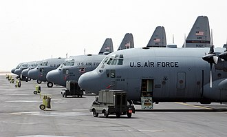 130th Airlift Wing - 130th AW C-130s lined up on the tarmac while supporting Operation Iraqi Freedom