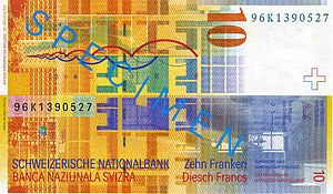 Modulor - Back side of the Swiss 10 CHF banknote, showing the Modulor