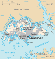 Map showing Singapore's island and the territories belonging Singapore and its neighbours