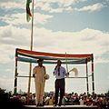 COLLECTIE TROPENMUSEUM Tijdens de viering van tien jaar onafhankelijkheid van Kenya spreekt een parlementslid het publiek toe TMnr 20038874.jpg