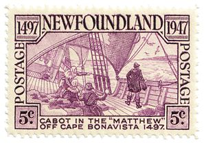 History of Canada - A 1947 stamp celebrating John Cabot's  discovery of the Newfoundland coast