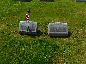 Ray Caldwell - Caldwell's grave in Randolph, New York with his wife's on the left in August 2017