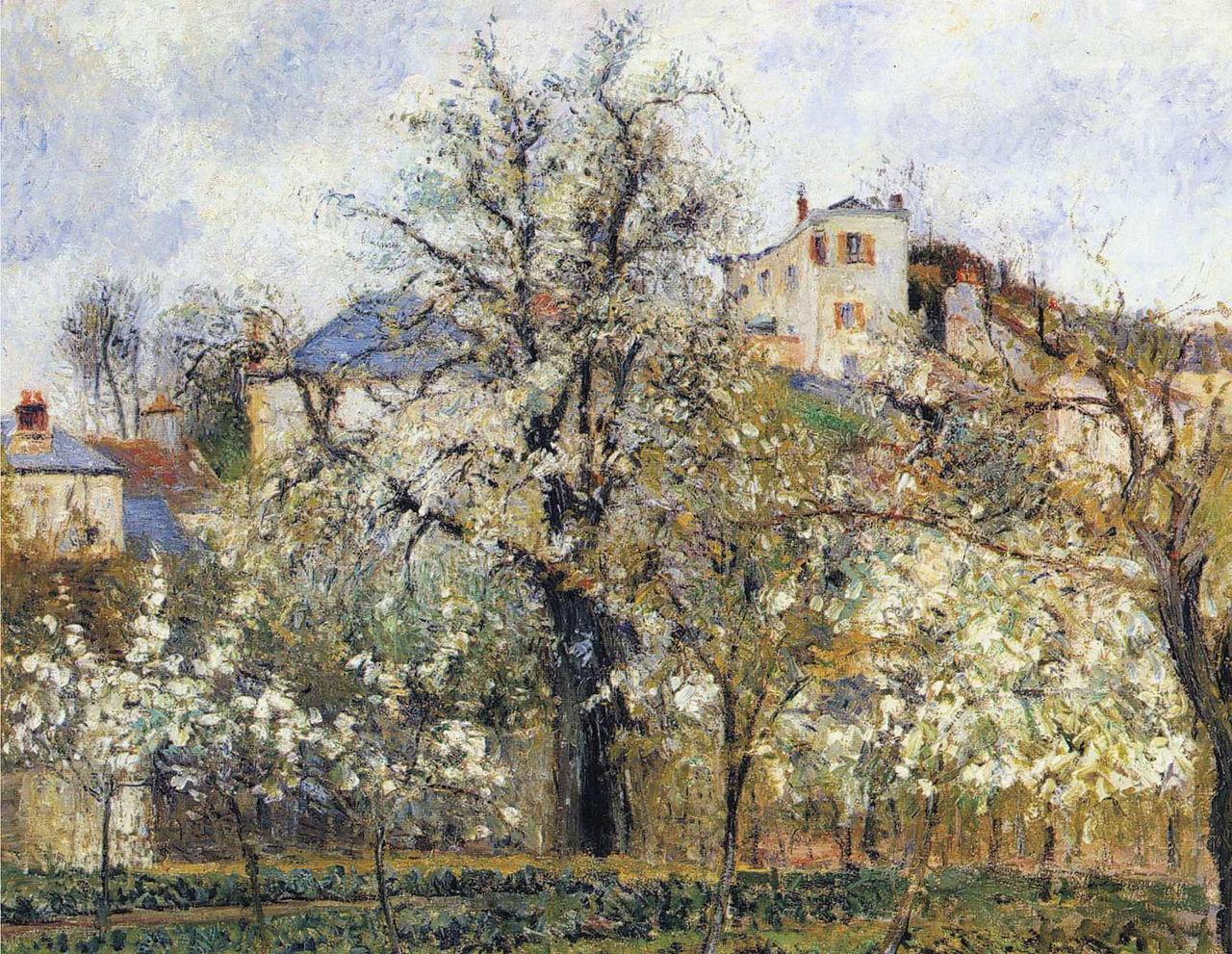 File camille pissarro orchard with flowering trees for Le printemps de la maison