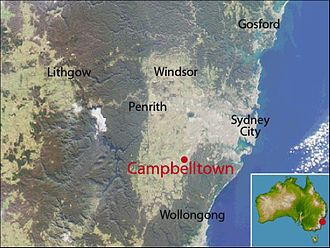 Campbelltown, New South Wales - Location map of Campbelltown based on NASA satellite images
