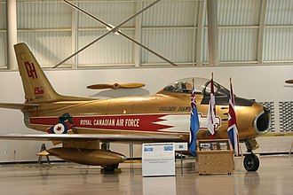 Canadair - Canadair Sabre in the colours of the Golden Hawks, on display at the Canadian Warplane Heritage Museum, Mount Hope, Ontario
