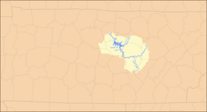 Caney Fork River - Image: Caney Fork Watershed Map