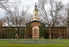 A picture of Nassau Hall, the university's oldest building