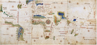 Cantino planisphere of 1502 depicting the meridian designated by the treaty.