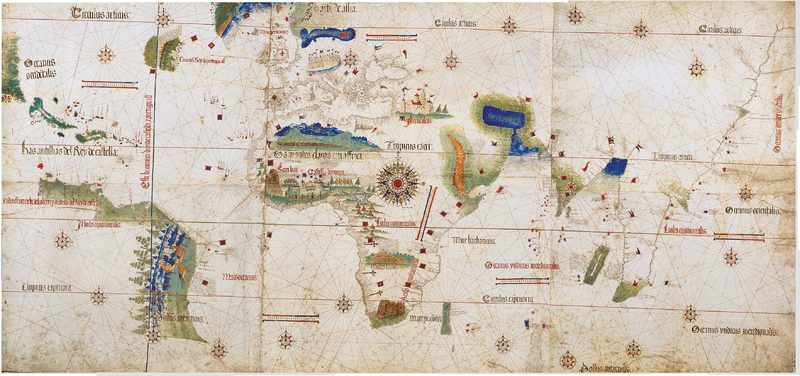 Ilustrasi garis demarkasi perjanjian Tordesillas
