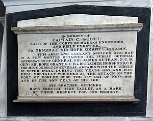 James Hope Grant - Captain C Scott of the Gen. Sir. Hope Grant's Column, Sepoy Mutiny, 1857. Memorial at the St. Mary's Church, Madras
