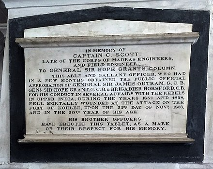 Captain C Scott of the Gen. Sir. Hope Grant's Column, Madras Regiment, who fell on the attack of Fort of Kohlee, 1858. Memorial at the St. Mary's Church, Madras Captain C Scott of the Gen. Sir. Hope Grant's Column, Sepoy Mutiny, 1857. Memorial at the St. Mary's Cathedral, Madras.jpg