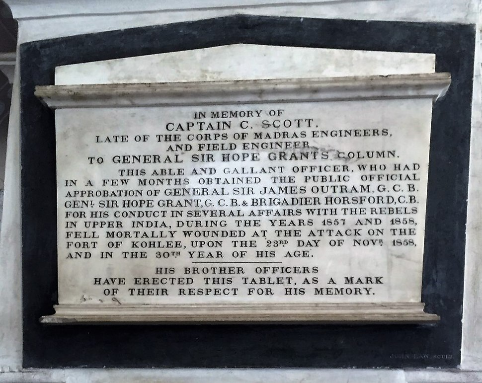 Captain C Scott of the Gen. Sir. Hope Grant's Column, Sepoy Mutiny, 1857. Memorial at the St. Mary's Cathedral, Madras