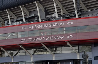 Millennium Stadium - The logo previously on the BT Stand (east)