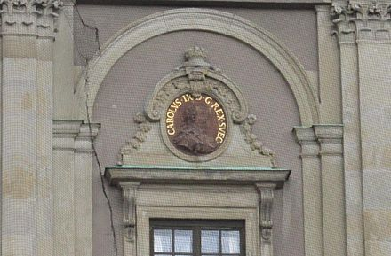 Image of King Carl IX on a wall of Stockholm Palace. Carl IX of Sweden outdoor relief 2013 Stockholm Palace.jpg