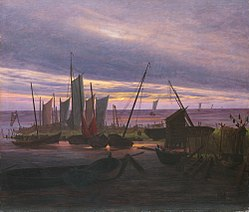 Caspar David Friedrich: Boats in the Harbour at Evening