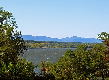 View of Catskills looking over Hudson River fr...