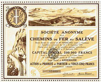 Chemin de fer du Salève - Share of the Chemin de Fer du Salève, issued 17. September 1921