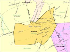 Hampton, New Jersey - Image: Census Bureau map of Hampton, New Jersey